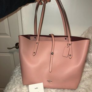 Coach Pink Market Polished Pebbled Leather Tote